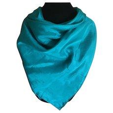 Vintage teal silk scarf
