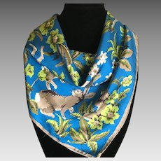 Vintage medieval animal motif Italian silk scarf