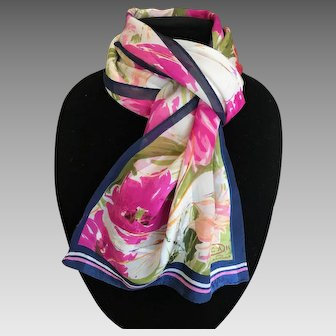 Vintage Oscar de La Renta silk scarf splash of pink