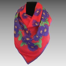 Vintage Ellen Tracy Purple gerbera daisy cotton scarf