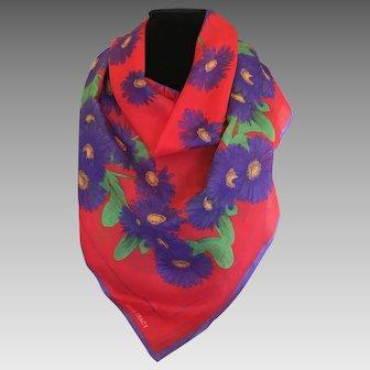 Vintage Ellen Tracy Purple gerbera daisy cotton scarf