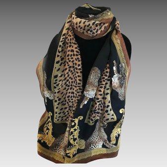 Vintage leopard rectangular scarf