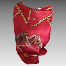 Silk satin quarter horse scarf in red