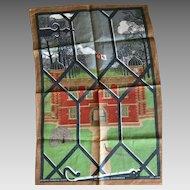 Mid Century Charlecote Park Gatehouse Stratford-upon-Avon linen tea towel