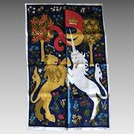 Vintage United Kingdom Lion and Unicorn linen tea towel