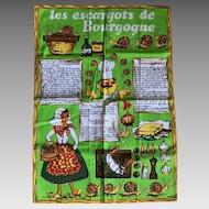 Mid Century French tea towel Les escargots de Bourgogne