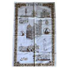 Vintage tea towel Firenze Italy