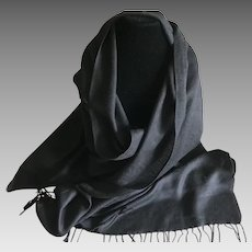Vintage lightweight black cashmere and silk pashmina wrap or scarf