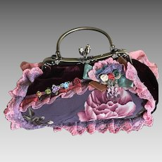 Vintage April Cornell patchwork and velvet handbag purse