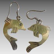 Vintage sterling silver deep sea fish earrings Taxco Mexico