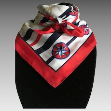 Vintage Red White and Blue Nautical polyester scarf made in Italy