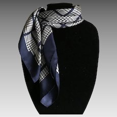Vintage Navy and White plaid Coach silk scarf