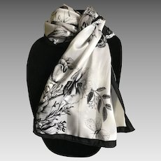 Black and white silk satin butterfly and floral rectangular scarf or sash