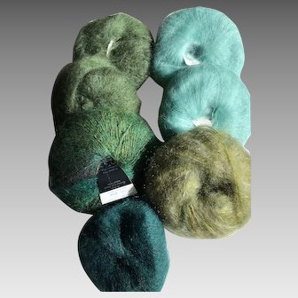 Seven skeins of mohair blend yarns made in Italy