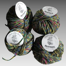 Four skeins of Beatrice Merino wool twisted tweed made in Italy