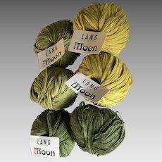 Six skeins Lang Moon Merino wool blend yarn