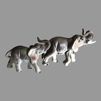Two Vintage Miniature English Porcelain Elephants For Your Fashion Doll