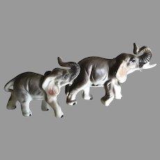 Two Vintage Miniature English Porcelain Elephants For Your Fashion Doll