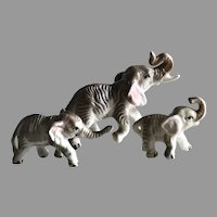Vintage Miniature Family of Porcelain Elephants For Your Fashion Doll
