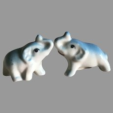 Two Miniature Vintage Japanese Porcelain Elephants For Your Fashion Doll