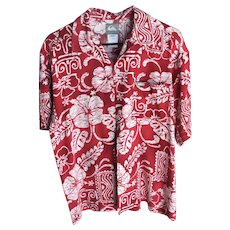 Vintage Quicksilver Red and White Aloha Shirt SZ S/P
