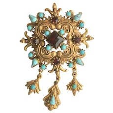 Florenza Etruscan Revival Convertible Brooch Pin Pendant