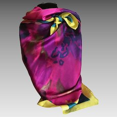 Very Large Bold Silk Twill Water Color Silk Scarf