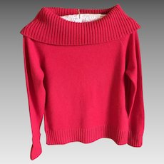 Vintage Cowel Neck Cashmere Sweater in Lipstick Red
