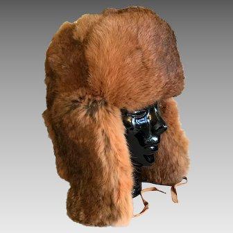 Natural Red Rabbit Fur Trapper Hat