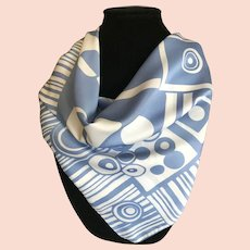 Vintage Blue and White Geometric Italian Polyester Scarf