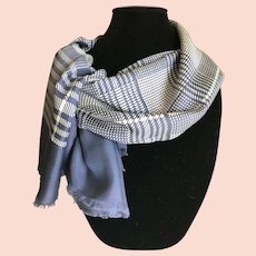 Steel Blue and White Rectangular Silk Scarf or Wrap
