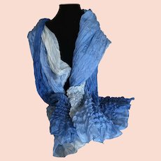 Blue Silk Ombre Romantic Wrap or Scarf