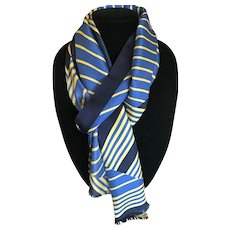Vintage Silk Scarf or Sash in Blues and Yellows