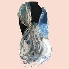 Sheer Blue Silk Diaphanous Wrap or Scarf