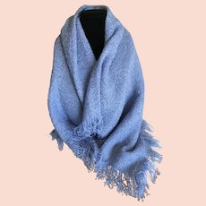 Vintage Cornflower Blue Boucle Shawl Wrap