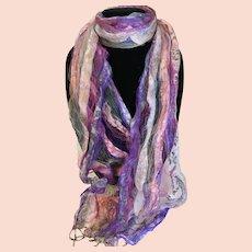 Artistic Handmade Gossamer Boho Silk Scarf