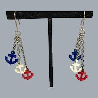 Red White and Blue Nautical Anchor Dangle Earrings