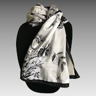 Black and white silk satin butterfly rectangular scarf or sash