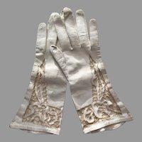 Elegant White Cutwork and Kid Leather Gloves