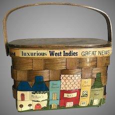 Vintage Basket Purse with a Travel and Pensacola Florida Theme