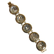 Runway Perfect Facetted Glass Link Napier Bracelet