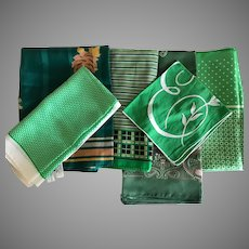 Collection of 5 Green Scarves and 1 Green Hankie