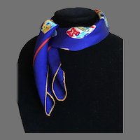 Vintage Silk Charmeuse Scarf Hat Box Motif Royal Blue