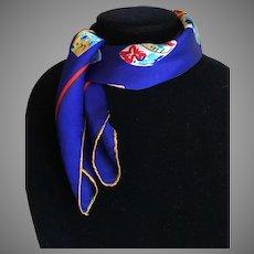 Vintage Silk Charmeuse Scarf Hat Box Motif Royal Blue
