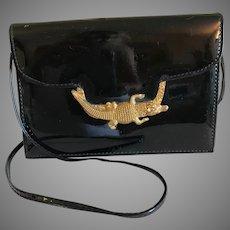 Vintage Black Patent Leather Handbag Large Goldtone Alligator Clasp