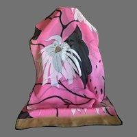 Semi Sheer Silk Chiffon Pink and Black Floral Scarf