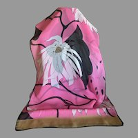 Semi Sheer Silk Chiffon Pink and Black Floral Scarf