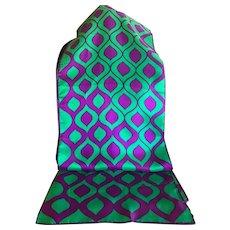 Vintage 1960's Green and Purple Silk Bland Rectangular Scarf