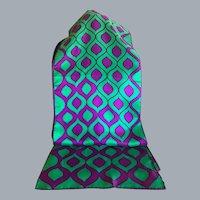 Vintage 1960's Green and Purple Silk Blend Rectangular Scarf