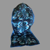 Pure Silk Satin Hibiscus Motif in Blues and white Scarf